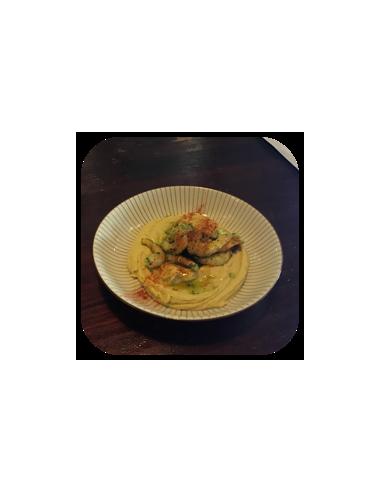 Hummus con Langostinos al Ajillo